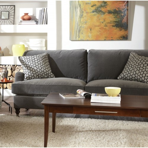 "Gray Velvet Sectional Sofa: Brooke 78"" Velvet Rolled Arm Sofa"