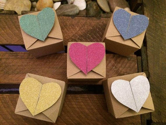 10 Kraft Brown & Glitter Heart Favour Boxes  by ShowstopperEvents