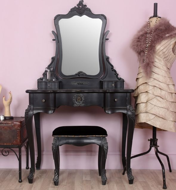 This chateau French style black dressing table set is a gorgeous black painted vintage style dressing table with matching stool and mirror.