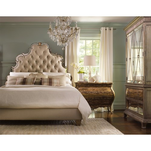 Sanctuary King Size Upholstered Platform Bed With High