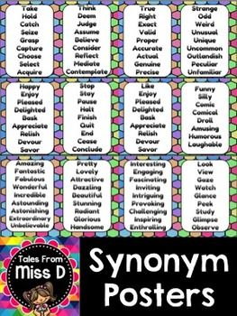 Help students develop their vocabulary by displaying these Synonym Posters in your classroom. Instead of using basic words, students can integrate these synonyms into their writing.  Words chosen are ones used frequently by students. These include:  Big, Small, Smart, Fast, Happy, Stop, Like, Funny, Take, Think, True, Strange, Use, Have, Calm, Tasty, Amazing, Pretty, Interesting and Look.