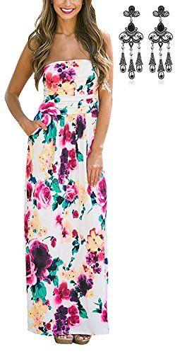 a30cd84a16 Modetrend Femmes Bohème Longue Maxi Robe de Plage Robes Bustier été Floral  Imprimé Sans Bretelle Robe - Fleur Multicouleur - Asian X-Large