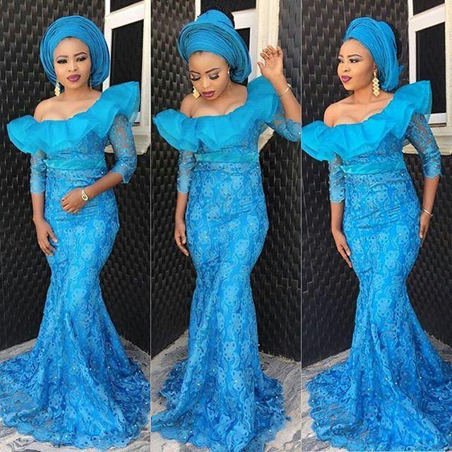 Light Blue Aso Ebi Lace Styles for Classy Ladies - DeZango Fashion Zone