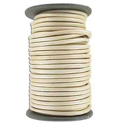 Round leather cord, 5mm, pearl finish, 25 meters. (SKU# TT5MMA/PRL). Sold per pack of 1 spool(s).