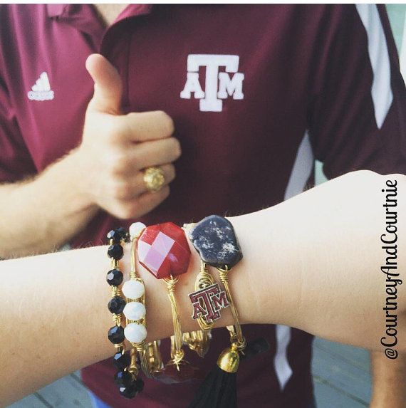 College Game Day Wire Wrapped Bangles Texas by CourtneyAndCourtnie