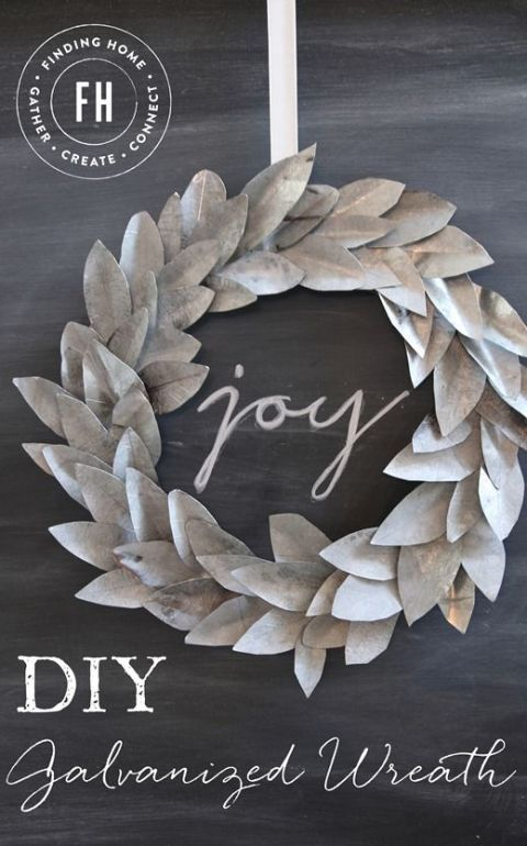 Add some metallic charm to your holiday decor with this galvanized wreath. Get the tutorial at Finding Home Farms.