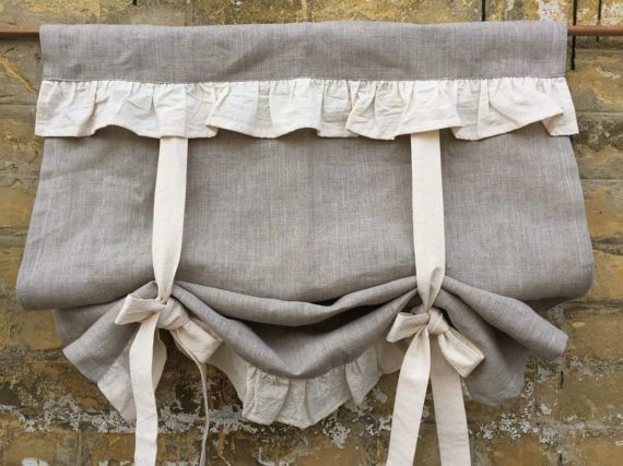 linen curtains ruffled country kitchen tie up valance rustic natural flax linen window french on farmhouse kitchen curtains id=70245