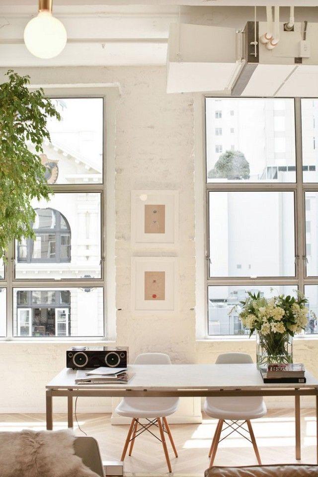 industrial office space. inside a cool industrial studio with feminine twist office spacemodern space u