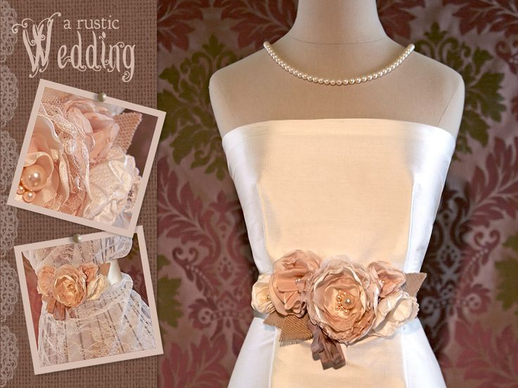 A Rustic Wedding with Fabric.com: Floral Wedding Gown Sash