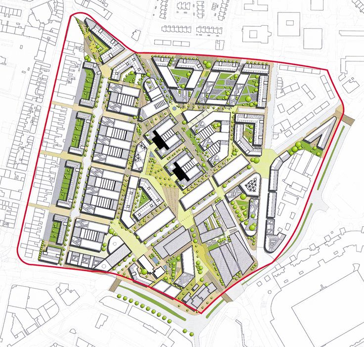 Undeveloped 2nd masterplan of 2008 for Science Quarter in Newcastle by EDAW.