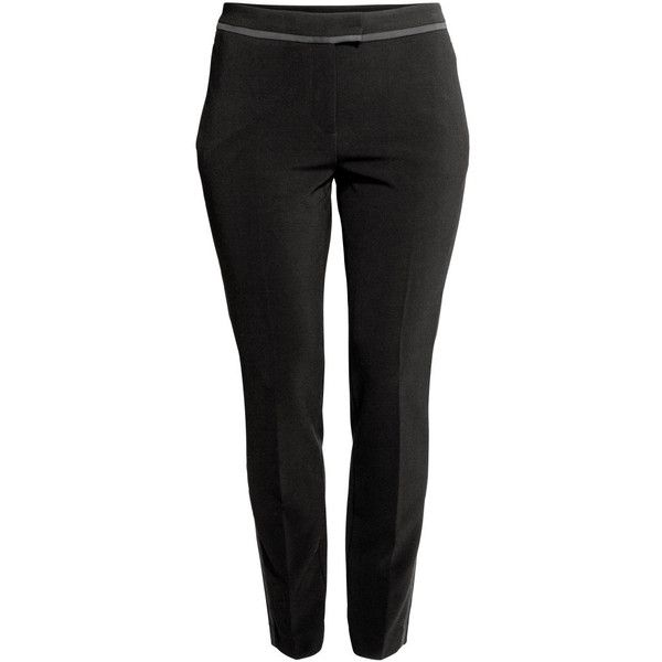 H&M+ Ankle-length Pants $34.99 ($35) ❤ liked on Polyvore featuring pants, slim leg pants, striped pants, short pants, tuxedo pants and ankle pants