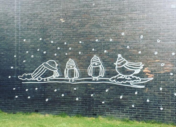 Wintervogeltjes #raamtekening door Corine W.