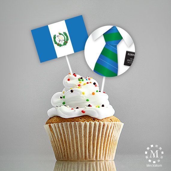 INSTANT DOWNLOAD - Guatemala - LDS Missionary Farewell Welcome Home Decorations - Cupcake Toppers with Flag - Called to Serve
