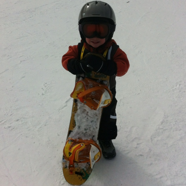 3 year old snowboarding