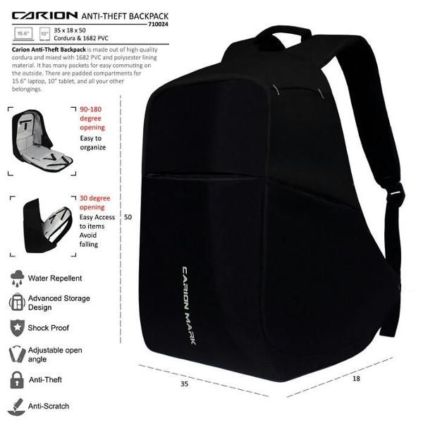 Beli Smart Backpack Anti Theft Tas Anti Maling Carion Mark dari onstage cloth onstagecloth - Semarang hanya di Bukalapak