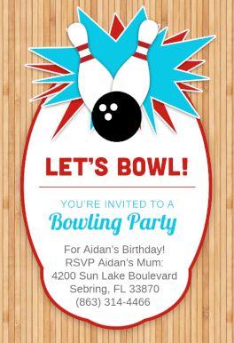 Bowling Party - Free Printable Birthday Invitation Template | Greetings Island