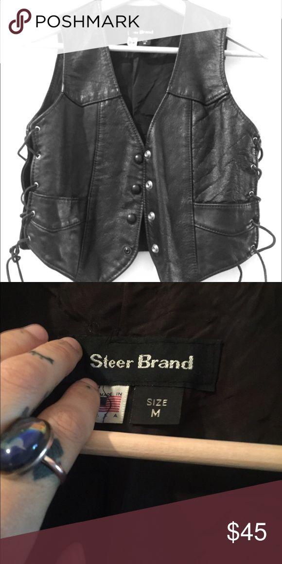 Vintage leather biker vest Black leather. Laces up the side. Buttons down. Size m steer brand Jackets & Coats Vests