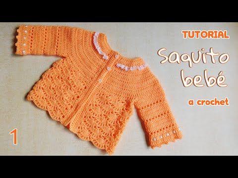 Como tejer saco y chaleco bebe a crochet (1/3) - YouTube