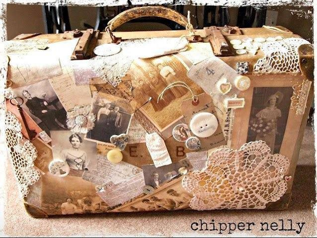 Shabby vintage suitcase ~ .lace, buttons and old pictures.