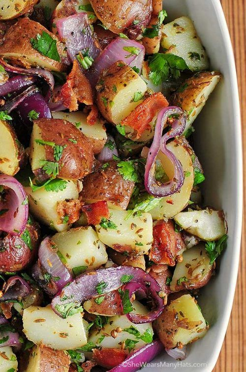 Texas style potato salad with red potatoes. Great side dish recipe!