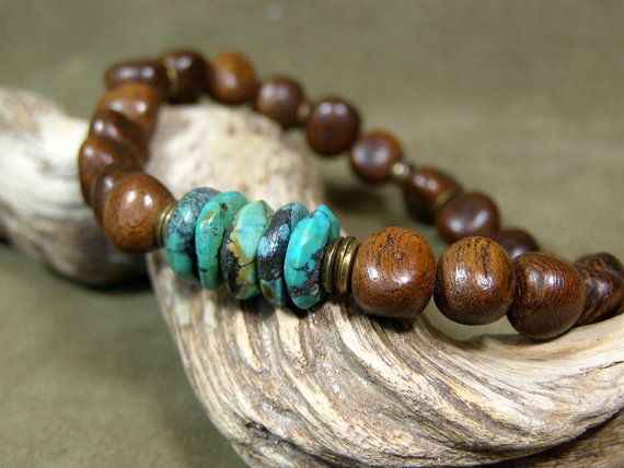 Mens Bracelet  Wood Bracelet  Turquoise by StoneWearDesigns.etsy.com