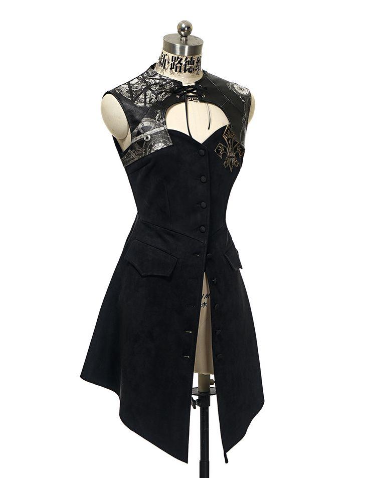 Gothic Steampunk Retro Steel Boned Corset Dress Jacket*Black Leather/Suede - fanplusfriend