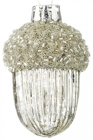 §§§ : silver glass beaded acorn