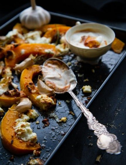 Roast Butternut Squash with Feta and Harissa Creme Fraîche | Anne's ...