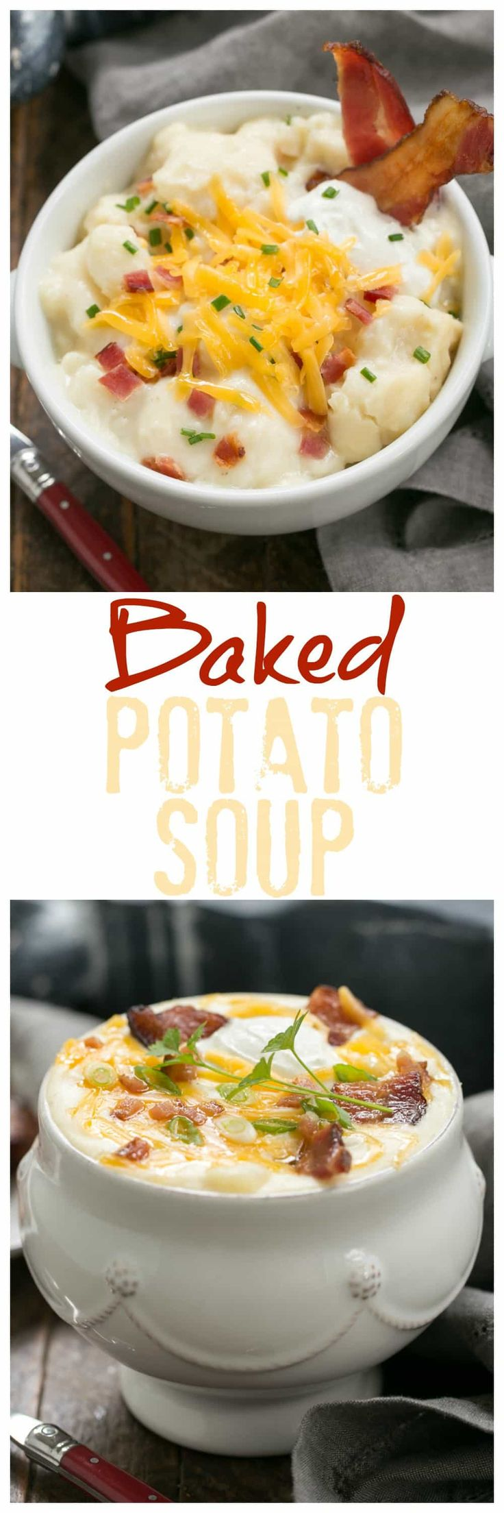 Loaded Baked Potato Soup   Creamy soup with chunks of baked potatoes and topped with cheddar, bacon, sour cream and chives! #soups #potatoes #SundaySupper