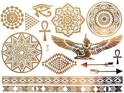 Tatouage doré, Tatouages temporaires, bijoux de corps Oriental, ornements égyptiens YS-48