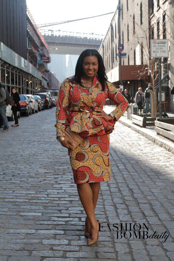 African Printed Peplum Skirt Suit Street Style New York