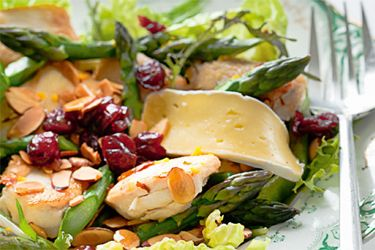 Chicken salad with brie and toasted almonds