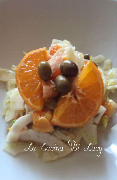Insalata di finocchio, agrumi e olive taggiasche.