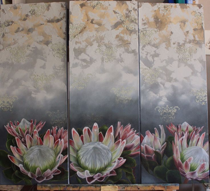 Set of three. pink King Proteas. Oil on canvas. 30x80cm. www.christellepretoriusart.co.za