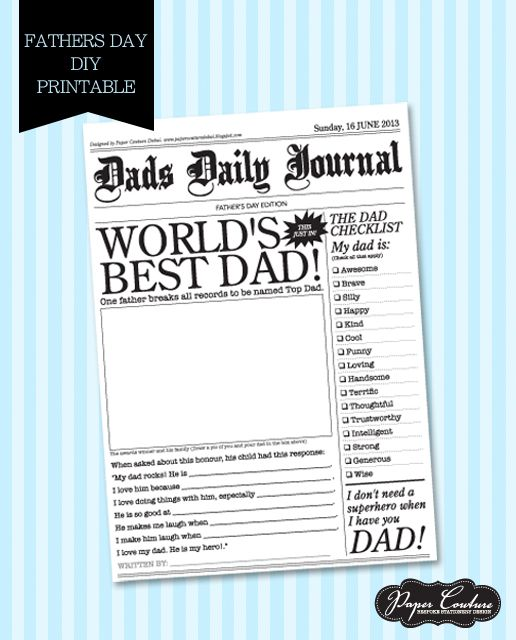 Paper Couture - Personal stationery and themed party printables: Free Father's Day Printable