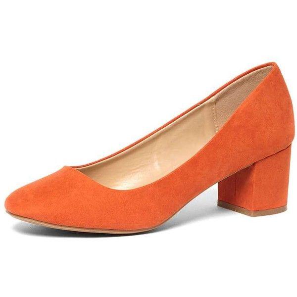 Dorothy Perkins Online Exclusive 'Daze' orange Block Heel Court Shoes ($35) ❤ liked on Polyvore featuring shoes, pumps, orange, ballet pumps, orange shoes, ballet shoes, block ballet shoes and block-heel pumps