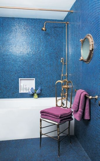 Everything You Need To Know About Bathroom Tile// blue mosaicBathroom Design, Modern Bathroom, Blue Tile, Interiors Design, Bathroom Ideas, Tile Bathroom, Mosaics Tile, Bathroom Tile, Blue Bathroom