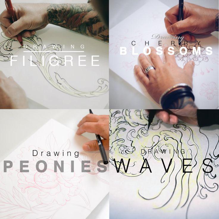 Jeff Gogue Drawing Tutorials. Peonies, Waves, Cherry Blossoms, Filigree