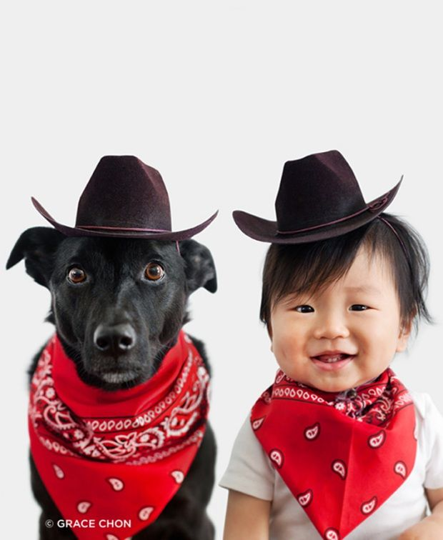 Baby and dog dress up like cowboy