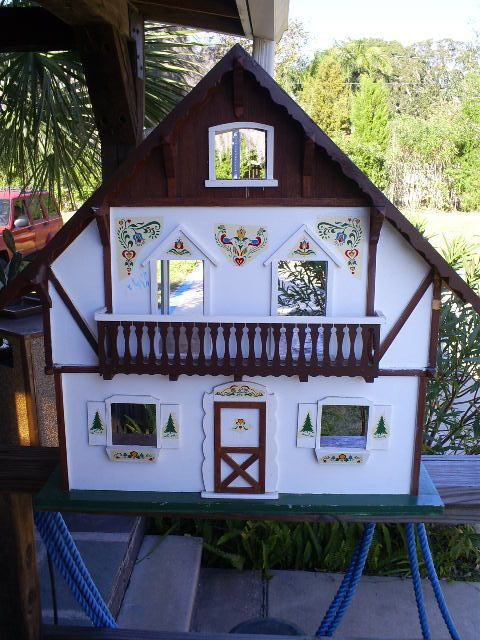 Charming Vintage Folk Art Wood Dollhouse Swiss Alpine