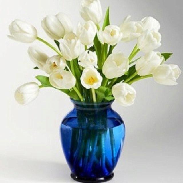 White Flowers Blue Vase