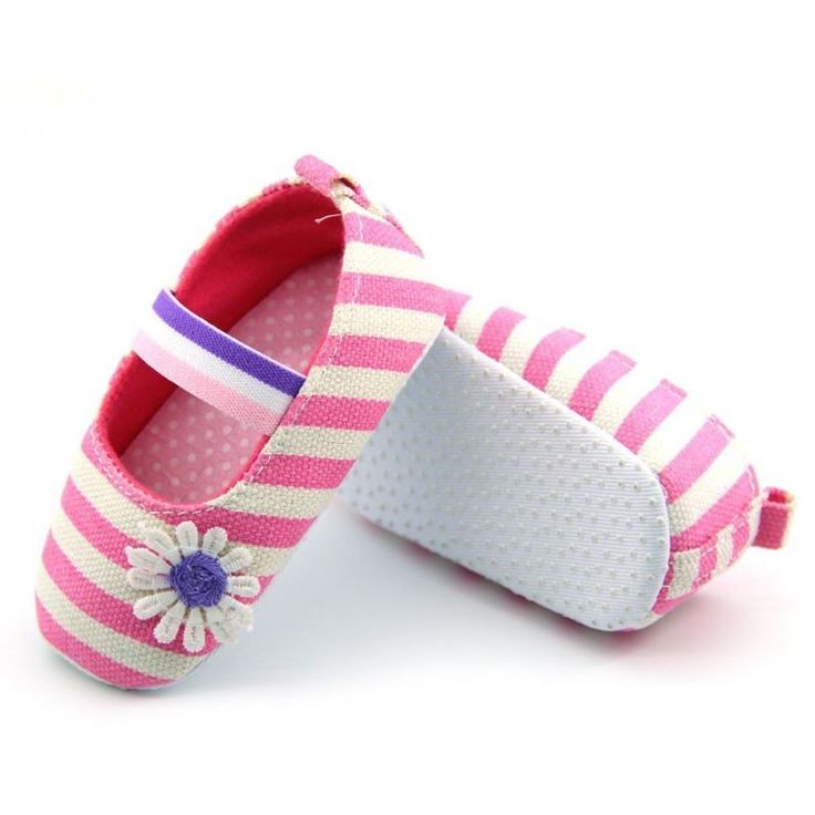 #BELLAZAARA #BABY GIRLS #FLOWER #COTTON SHOES #SOFT #SOLED STRIPED #CRIB #SHOES (0-6 MONTHS)