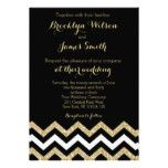 Elegant Chevron Wedding Invitations Black Gold