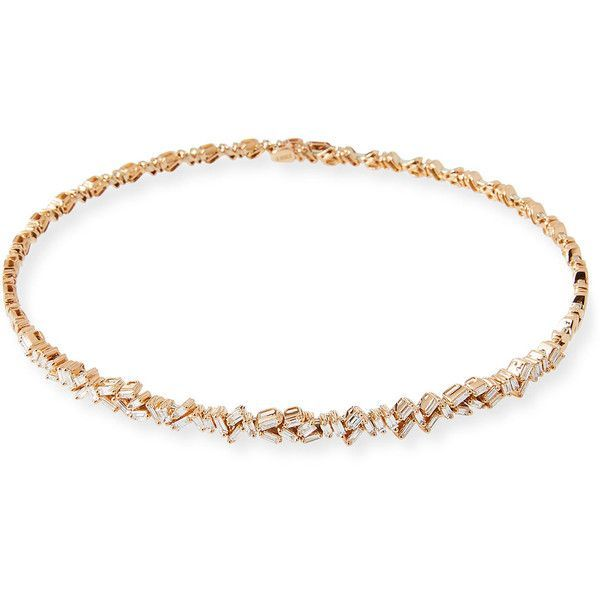 Suzanne Kalan 18K Rose Gold Diamond Baguette Choker Necklace ($17,000) ❤ liked on Polyvore featuring jewelry, necklaces, diamond choker necklace, red gold necklace, diamond choker, 18k necklace and diamond jewelry