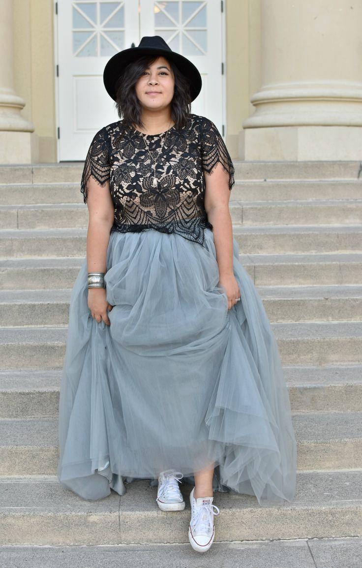 Society plus premium long grey tutu skirt