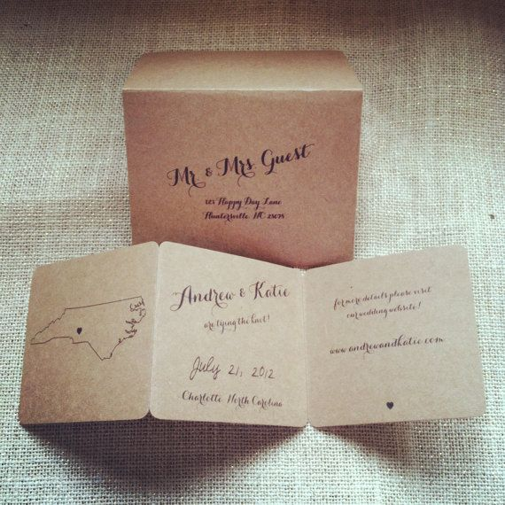 State Map Save The Dates With Envelopes Rustic Shabby Chic Wedding