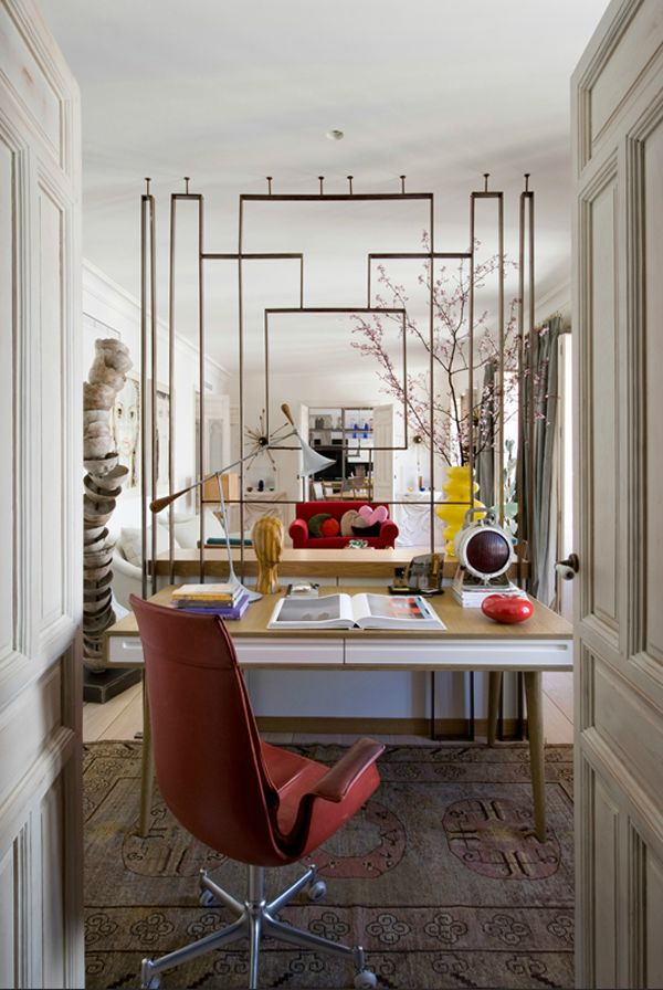 marta de la rica living room and home office space--abstract metal room divider, eclectic mix, classic millwork