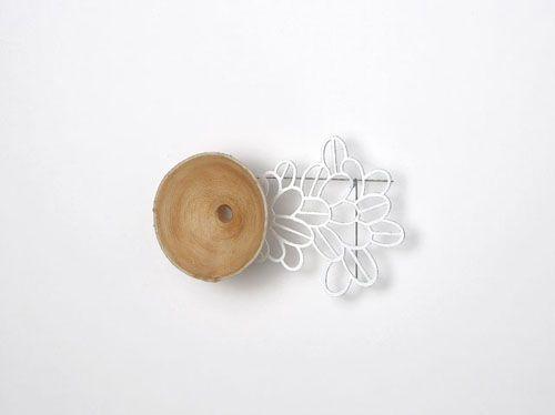 Dongchun Lee - Inhale Exhale - brooch, 2009, thread, latex, iron, paint - 140 x 90 x 30 mm