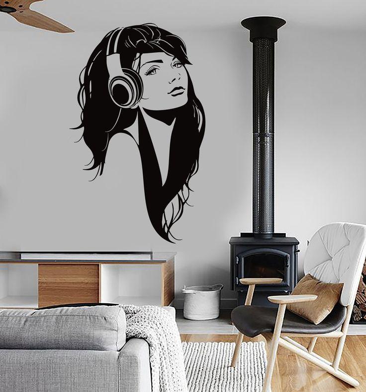 Wall Vinyl Decal Sexy Girl Head Phones Headphones Music Romantic Decor Unique Gift z3834
