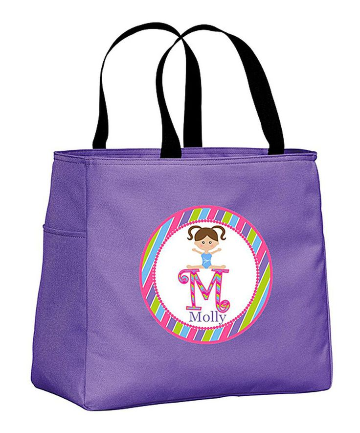 Look at this #zulilyfind! Purple & Brown-Haired Initial Gymnastics Tote Bag by Preppy Mama #zulilyfinds